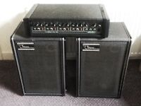Carlsbro 90 watt pa with 4 inputs with 2 Ohm Speakers.