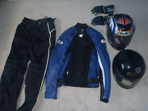 Motorcyle helmets (2), jacket, pants and gloves for sale.