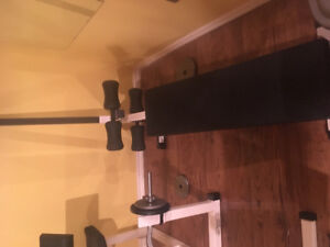 Various weight equipment, benches, stair climber