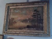 LARGE WORKED FRAME ...WITH PAINTING