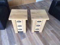 Solid oak bedside tables (pair)