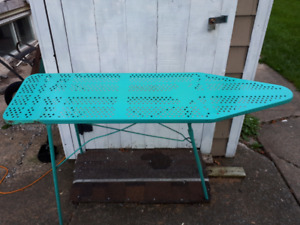Vintage 1950s baby blue steel iron board