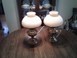 Lovely pair of brass table lamps with large milk glass shades