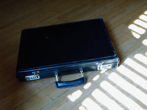 leather slimline briefcase/Repurpose to chic sidetable/uber BAR