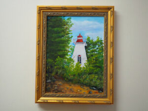 Oil Painting of Cedars Lighthouse, Long Reach, New Brunswick