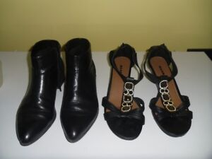 Ladies Sandals and Leather Boots, Size 10