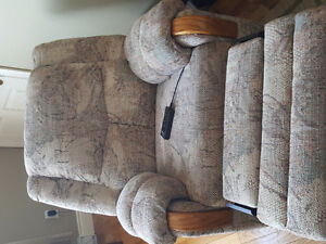 Reclining couch and massaging chair set