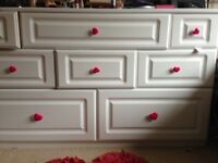 Beautiful bedroom set desk/large side cabinet with 8drawets, bedside drawers