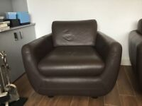Habitat brown leather sofa and chair