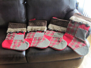 4 Luxurious Patchwork Xmas Stockings