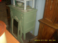old green antique dresser distressed with mirror