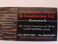 Exterior stucco, interior feature walls or fireplaces etc.
