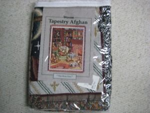 New Woven Christmas Tapestry Afghan