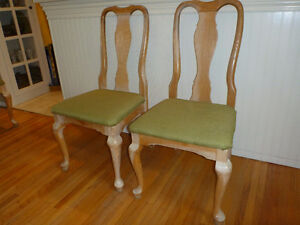 Solid oak dining chairs (4) with upholstered seats