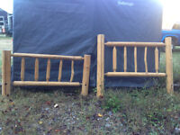 REDUCED! Hand Made Pine Log Bed Queen Size. $400
