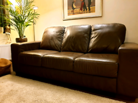 Sofa dark brown with delivery asap