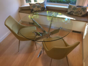 Modern Glass and Metal dining table