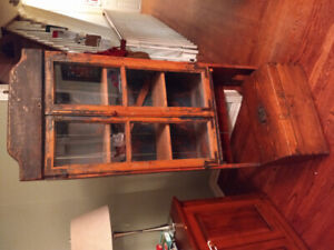 Antique painted pine bookcase w/ glass doors & small pine chest