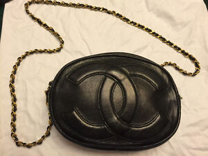 1980's CHANEL oval black leather 'CC' bag with gilt chain