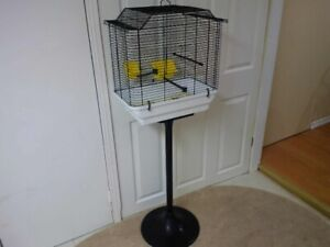 LIKE NEW BLACK AND WHITE CAGE & STAND FOR ANY SMALL BIRDS