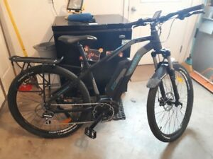 Electric mountain bike, mid drive pedal assist, no battery