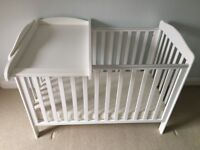 Drop side cot incl mattress and cot top changer - excellent condition