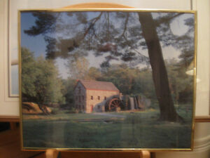 VINTAGE PRINT ..THE GRIST MILL ...UNDER The OLD PINE TREE
