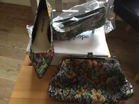 Brand new size 5 kitten heels and bag