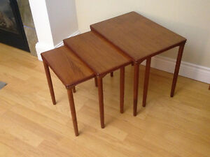 Mid Century Set of Three Nesting Tables