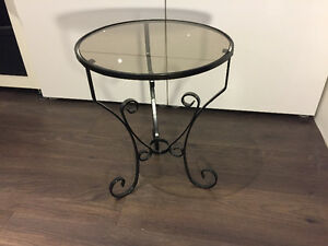 Metal & Glass Outdoor Side Table