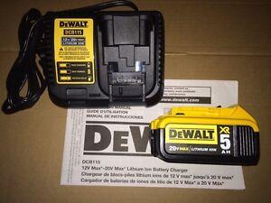 DEWALT 20v Max XR 5.0 battery and charger