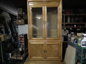 CHINA CABINET OR HUTCH  TWO PIECE   IMMACULATE .