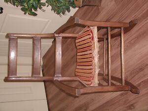 Chaise bercante antique - siège en jute