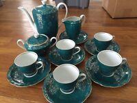 Beautiful bone china set, Polish, green, dresser set