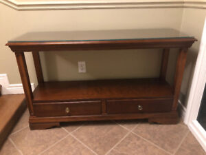 Solid Wood Front Hall Table with protective glass