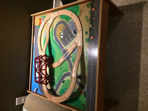 Train table with glued on track
