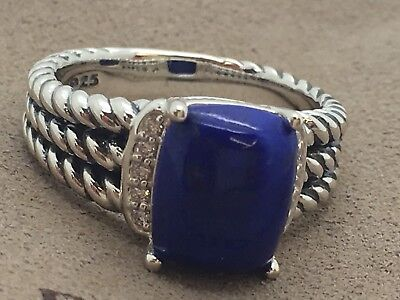 David Yurman Wheaton Ring 8x10mm Lapis and Diamonds Size 7 W. Pouch, used for sale  Forest Hills