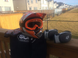 Assorted Kids Motorcycle Helmets and Equipment