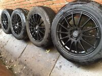 "As New 18"" Gloss Black Volvo XC90 alloy wheels +tyres 5x108 Kuga XC70 RRP£1400"