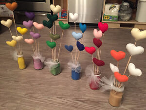 Handmade felt hearts with wooden dowel attached (79 available)