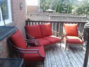 ~ METAL PATIO SET - 2 CHAIRS & LOVE SEAT ~ RECOVERED CUSHIONS ~