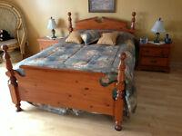 Chambre a coucher bois camel nouée