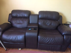 Leather 2 seat reclining couch