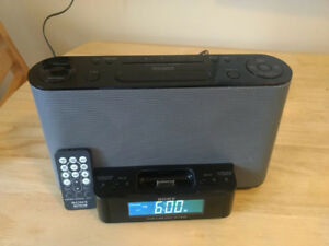 Sony clock radio, ipod dock, audio in port with remote-Price Fir