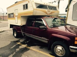 97 GMC 1 ton Truck And camper for sale