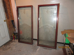 TWO LARGE ETCHED GLASS WINDOWS