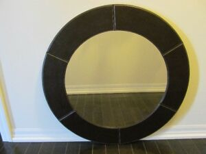 """33"""" Leather Round Wall Mirror"""