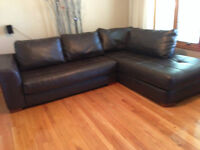 Brown leather sectional - 2 pieces L shape