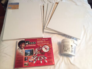 New Bob Ross Master Paint Set + Cleaning Bucket + Canvas