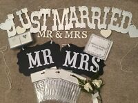 Wedding signs, buttonholes, bubbles, ring boxes, activity pack - cheap